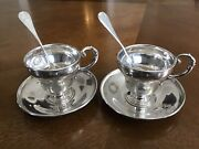 Antique German Engraved His-and-hers Pair Of Silver Cups Saucers Teaspoons