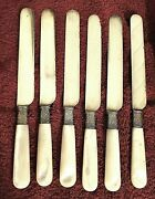 6 Mother Of Pearl Handle Knives W/ Fancy Ferrules By A.f Towle And Sons Co 11166