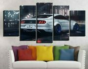 Framed Ford Mustang Gt Car Poster 5 Pieces Canvas Print Wall Art Home Decor
