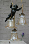 Antique French Spelter Bronze Putti Angel 3 Shade Pendant Lamp Chandelier