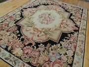 8x10 French Aubusson Needlepoint Area Rug Floral Flat Weave Black Pink Blue