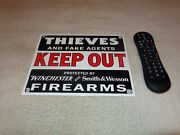 Vintage Thieves Out Winchester Smith And Wesson 10 Porcelain Metal Gun Ammo Sign