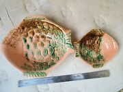 Vintage Italian Hand-made Pair Of Fish Bowls Pottery