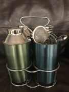 Vintage Set Of 4 Cocktail Stainless Steel Shakers Mid Century Retro Barware Tool