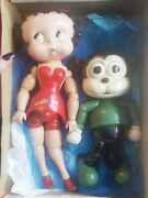 10 And 12'' Antique American Wood Bimbo Doll Betty Boop And Dog Set Of 2 Rare