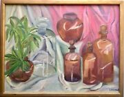Vintage Still Life Oil Painting Glass Apothecary Medicine Bottles Signed Landis