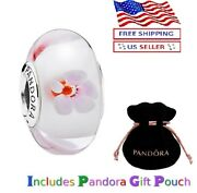 New Authentic Pandora Sterling Silver S925 Cherry Blossom Murano Charm
