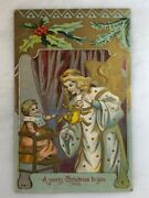C 1910 Angel Christmas Baby Toys Embossed Postcard Antique
