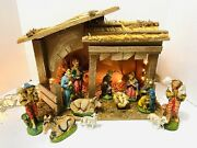 Vintage Christmas Nativity Manger Set 12 Figurines Sears+ Extra Made In Italy