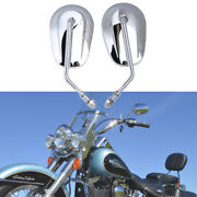 Chrome Motorcycle Rearview Mirrors 8mm For Harley Davidson Softail Breakout Dyna