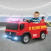 Fire Truck Kids Ride On Car Toy 12v Battery Powered W/ Remote Control Water Gun