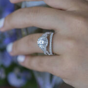 1.75 Ct Real Round Natural Diamond 14k White Gold Christmas Ring Size 5 6 7 8 9