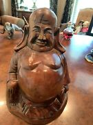 """Happy Fat Buddha Wood Carving Sculpture 12"""" Inches"""