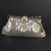 Vintage Whiting And Davis Silver Mesh Evening Bag W/mirror