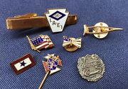 Lot Of Vintage Enamel And Gold Filled Pins Masonic Military American Flags Music