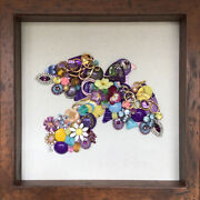 Framed Vintage Antique Jewelry Art Colorful Dove Bird In Flight 10x10