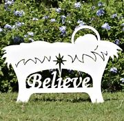 Christmas Believe Manger Outdoor Silhouette 27 Tall X 39.5 Wide Ons N17