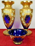 Vases And Table Center. Bohemian Crystal. Cobalt And Gold. Czechia. Circa 1950