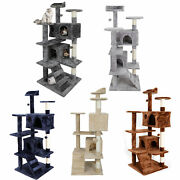 53 Cat Tree Tower Activity Center Playing House Condo Grey/beige/blue/brown