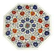 27 Inches Marble Coffee Table Floral Pattern Inlaid Patio Table For Christmas