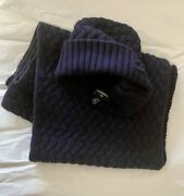 Authentic  Set Knit Hat And Scarf Dark Blue Cashmere .