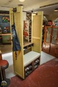 Hand Made Upcycled Hall Tree, Garment Storage Rack Bench, Trunk, Shutters