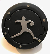 Baseball Pitching In 3d Black W Grey For Jeep Wrangler Jk/jku Flag Gas Cap Cover