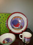 1994 Mary Engelbreit Babys First Christmas Melamine Cup, Plate, And Bowl Set...