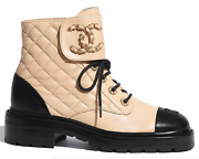 20a Black Beige Quilted Cc Chain Combat Lace Up Tie Ankle Short Boot 40.5