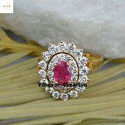 Aaa+ Quality Diamond Ring Ruby Gemstone Jewelry 14k Yellow Gold Flower Ring Gift