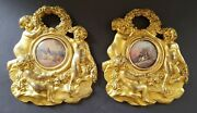 French Napoleon Iii Vintage Victorian Antique Pair Of Bronze Gouach Pictures