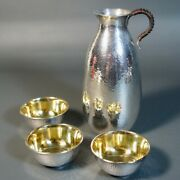 Antique Vintage Chinese Silver Teapot Wine Pot 3 Cups Marked Pure Silver