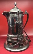 Antique Reed And Barton Silver Plated Tilting Ice Pitcher 1878 Aesthetic On Stand