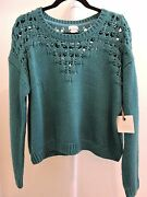 Hinge 100 Acrylic Teal Crop Scoop Neck Sweater - Size Large
