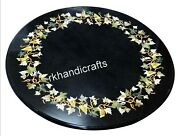 30 Inches Marble Dinette Table Top Stone Art Inlaid Coffee Table For Christmas