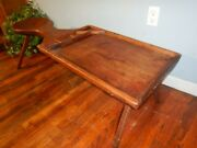 Early Antique Cobblers Bench Unusual Solid Walnut Plank Hand Hewn Bottom