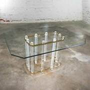 Hollywood Regency Glass Brass And Lucite Dining Table Style Charles Hollis Jones