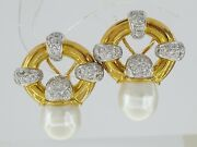 Vintage 18k Yellow Gold South Sea Pearl And 1.2 Ct Diamond Earclips Earrings 31.1g