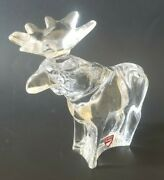 Orrefors Crystal Glass Reindeer Christmas Figurine Ornament Label And Signed 5