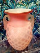 Pink Satin Glass Diamond Quilted Vase Blown Glass Handles Signed Antique 5 Bud