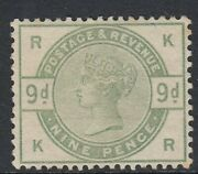 Qv Gb Sg195wi 9d Dull Green Very Lightly Mounted Mint Cat Andpound2000