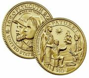 Mayflower 400th Anniversary Gold Reverse Proof Coin - In Hand - Ready To Ship