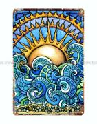 Kitchen Wall Decor Trippy Psychedelic Sun Ocean Wave Metal Tin Sign