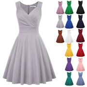 Women Solid Vintage 50s Sleeveless Party Swing A-line Dress Housewife Homecoming