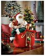 20andrdquo Tall Merry Christmas Lighted Santa Claus Sitting On Red Toy Bag Hcnmn21