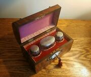 Superb Victorian Walnut Perfume Box Brass Mounts And 3 Silver Top Bottles H/m 1874