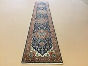 2andrsquo.6andrdquo X 13andrsquo.9andrdquo Navy Blue Rust Fine Geometric Hand Knotted Oriental Rug Runner