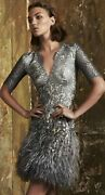 50 Off New And Authentic Matthew Williamson Mirror Feather Lace Silver Dress