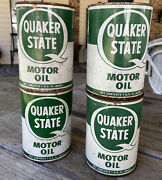 Vintage Quaker State Motor Oil Metal Can Full Nos Lot Of 4