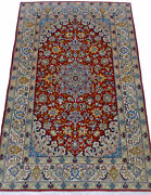 Antique Hand Knotted 3and039 5 X 5and039 1 Red Esfehan Wool/silk Authentic Perssian Rug